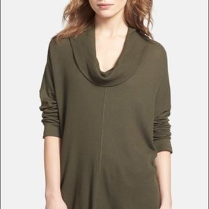 Splendid green swing thermal cowl neck pullover